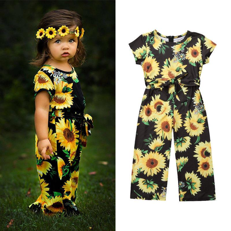 da06414ce 2019 2019 Summer Toddler Kids Baby Girl Sunflower Romper Short Sleeve Belt  Bow Princess Girls Jumpsuit Playsuit Sunsuit Clothes From Dtysunny2018, ...