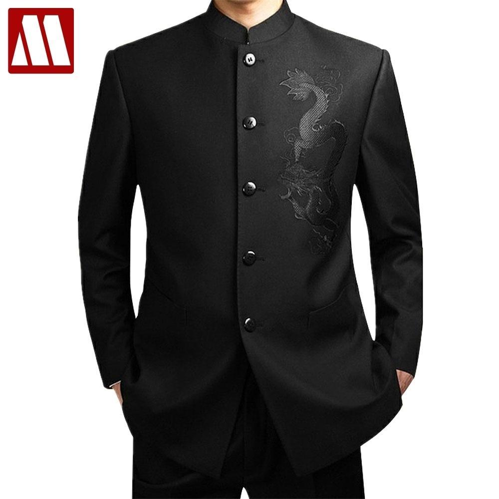 ae030cb61 Traje de túnica chino negro traje tradicional de los hombres Collar de  soporte Trajes Traje del líder de Apec Bordado masculino traje Totem tamaño  ...