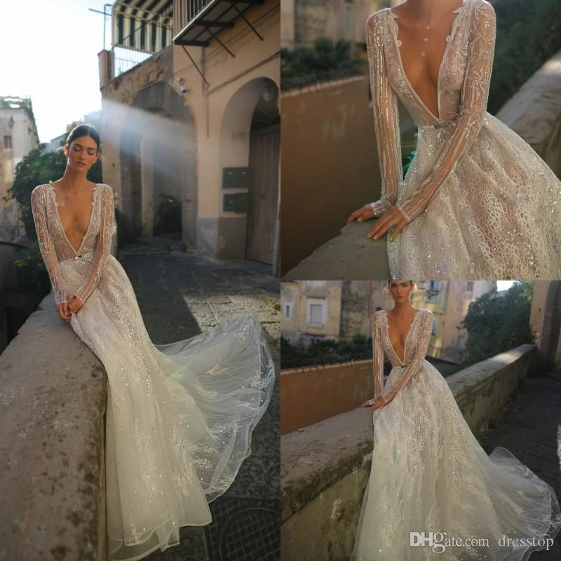 b92f110a Inbal Dror 2019 Wedding Dress V Neck Sequined Lace Bridal Gowns With  Crystals Sweep Train Boho Long Sleeves Wedding Dress Custom Made Designer  Mermaid ...