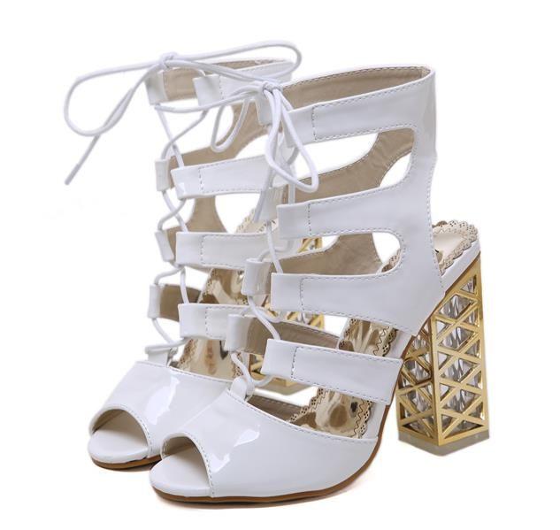 new product 86662 1e25e ViVi Lena weiße Sandalen nackt Schnüren dicke High Heels Damen Designer  Sandalen Damen Slides Mode Luxus Designer Damen Schuhe Größe 34 bis 40
