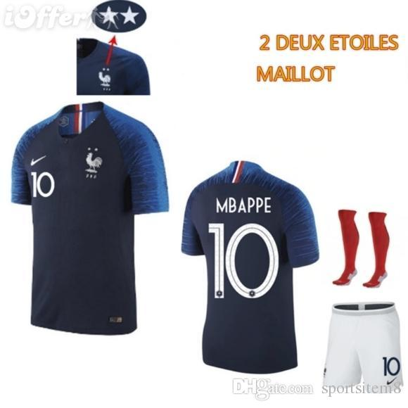 87aada82810 New 2 Stars France 2018 World Cup GRIEZMANN POGBA MBAPPE Soccer Maillot De  Foot 18 19 MARTIAL KANTE DEMBELE Maillot De Foot Football Shirts T Shirt Of  The ...