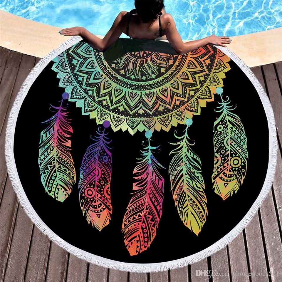 d854b760a8a89 Beddingoutlet Colorful Dreamcatcher Tassel Mandala Tapestry Black Round  Beach Towel Toalla Sunblock Blanket Yoga Mat 150cm Beach Towel Beach Towel  Online ...