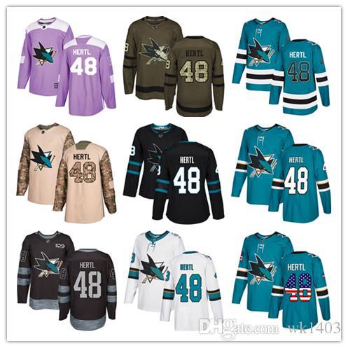 new concept e7f08 69429 San Jose Sharks jerseys #48 Tomas Hertl Jersey ice hockey men women youth  blue white black teal green drift Stiched Fanatics Jerseys