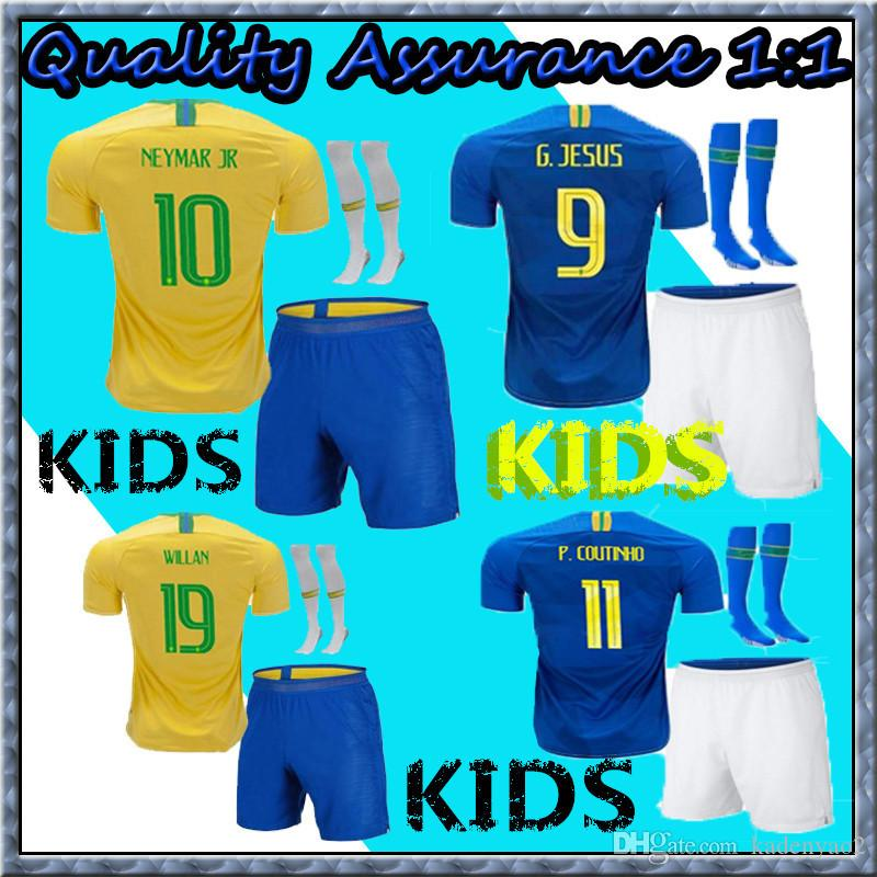 d9a596e8a 2019 2018 19 Home Yellow Soccer Jerseys Blue Jersey 2018 2019 JESUS  COUTINHO FIRMINO MARCELO Football Kids Kit Shirt Camisa Football Shirt G.JES  From ...