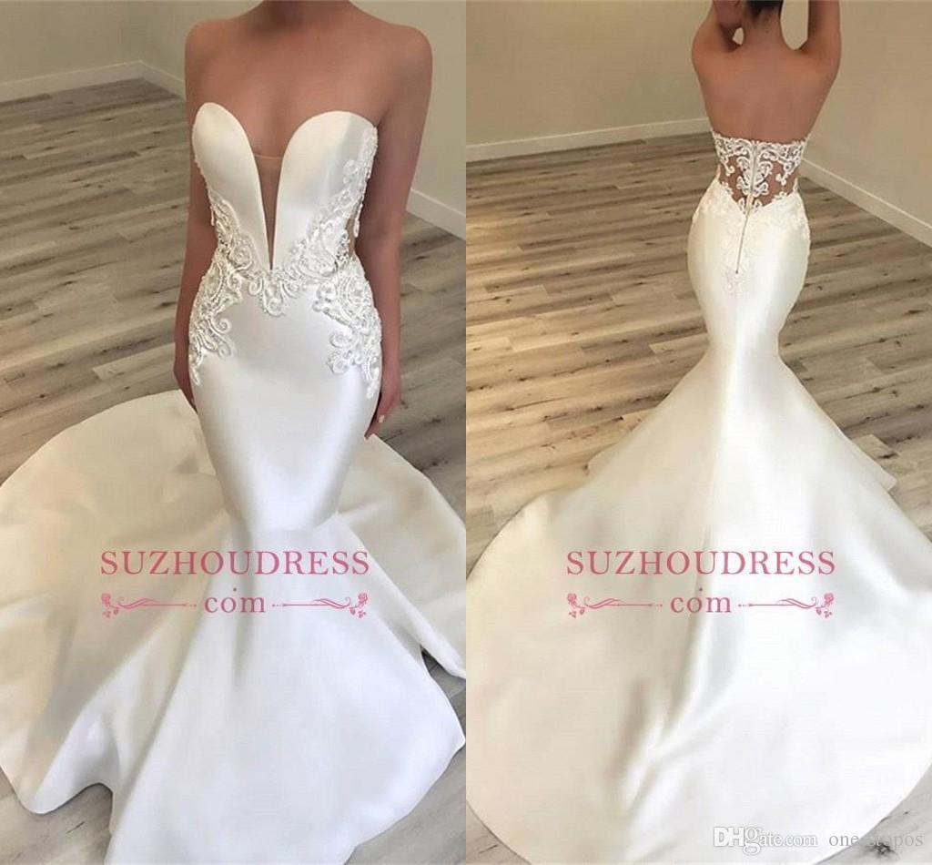 ca506bfda63fd 2019 New Wedding Dresses Mermaid Lace Appliques Sweetheart Bridal Gowns  Sexy Strapless Beach Trumpet Dress For Brides Custom Made Mermaid Dresses  Modest ...