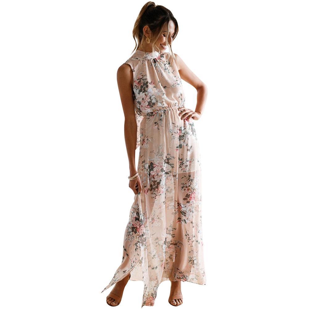 94ca56a465b4 Women Floral Print Halter Long Dress Backless Split Casual Beach Maxi  Chiffon Dress 2019 Summer Boho Dress Pink Robe Ete Femme White Summer Lace  Dress ...