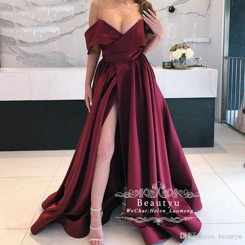 Burgundy Long Satin Prom Dresses 2019 Sexy Side Slit V Neck Off Shoulder Arabic  Evening Formal Dress Cheap Simple Special Occasion Wear Genealogy Prom ... a5e42f356a0e