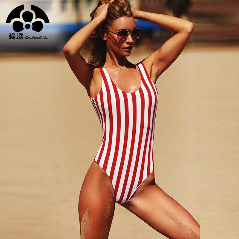 9e055ff2cdfd4 Cheap 2019 New Fashion Bikinis Women Swimsuit One Pieces Swimwear Female  Stripe Bikini Push Up Jumpsuit Vest Bathing Suit Beach Bather Swim