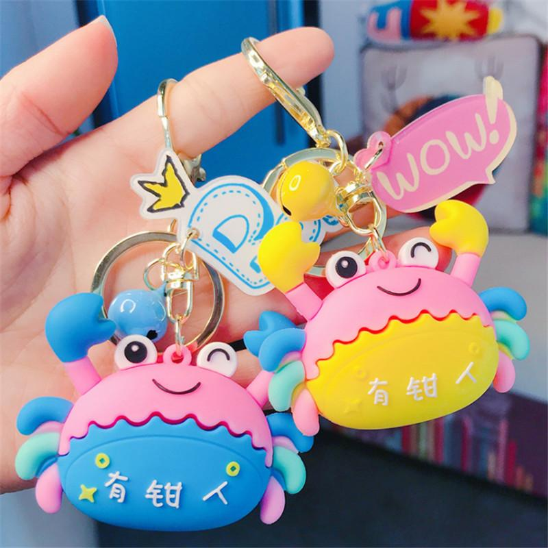 Cartoon Colorful Crab Key Chain Doll Key Ring Gift For Women Girls Bag Pendant Figure Charms Chains Jewelry Porte Clef