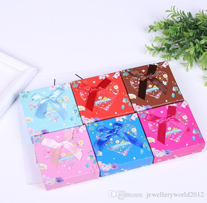 New style square bow ornament earring box jewelry packaging box mix color