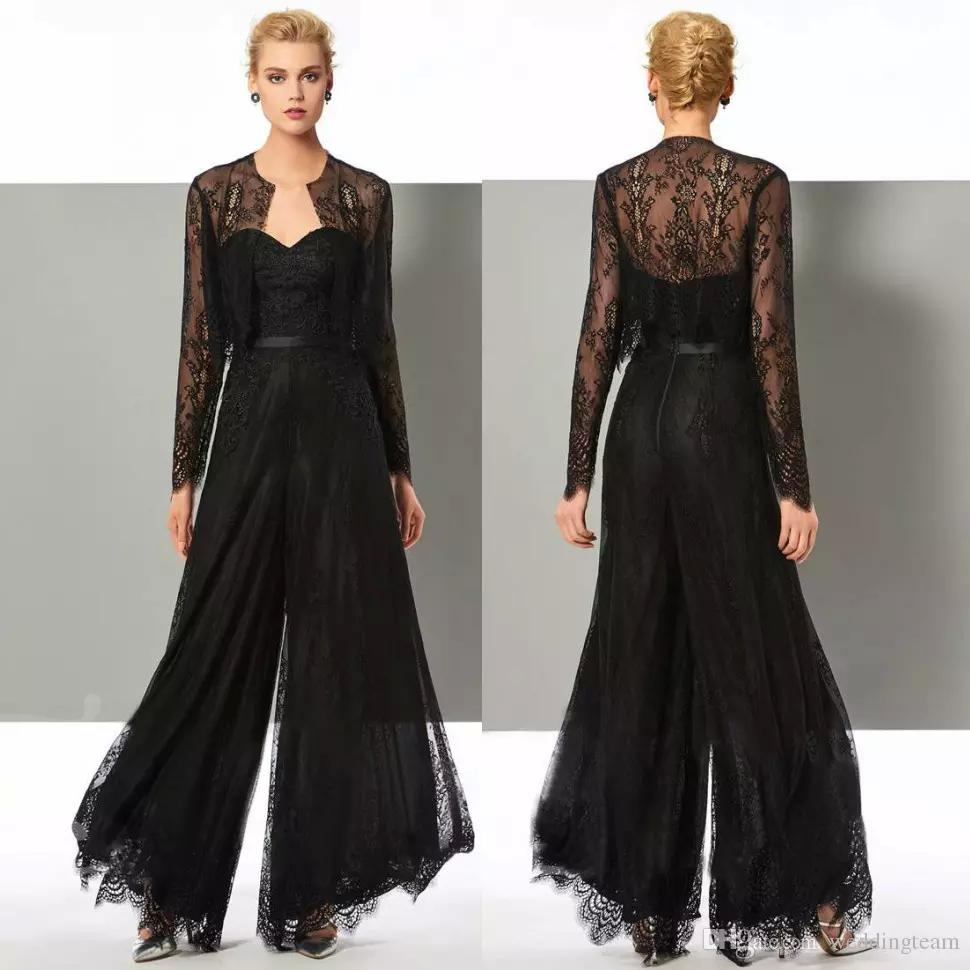 a231648ae0 Acheter Chic Noir Dentelle Jumpsuit Mère De La Mariée Pantalon Costumes De Cou  Cou Cou Robes De Mariage Avec Des Vestes Plus La Taille Mères Robes De  Mariée ...
