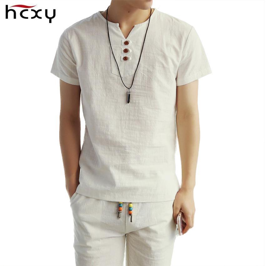 2019 New Summer Style Mens Short Sleeve Linen T Shirt Tee Shirts Short  Sleeve T-shirt Men Fashion T Shirt Wholesale J190525