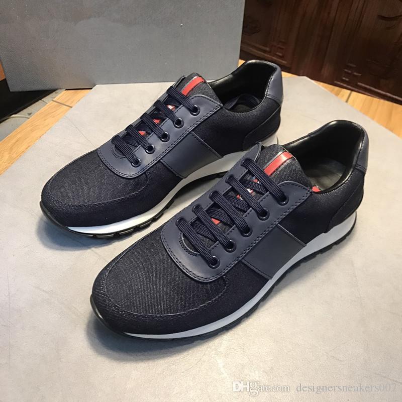 2018 Con Box Uomo Scarpe casual Moda Marchi di lusso Designer Sneakers Scarpe da corsa stringate verde rosso 3 strisce in pelle nera xg18091403