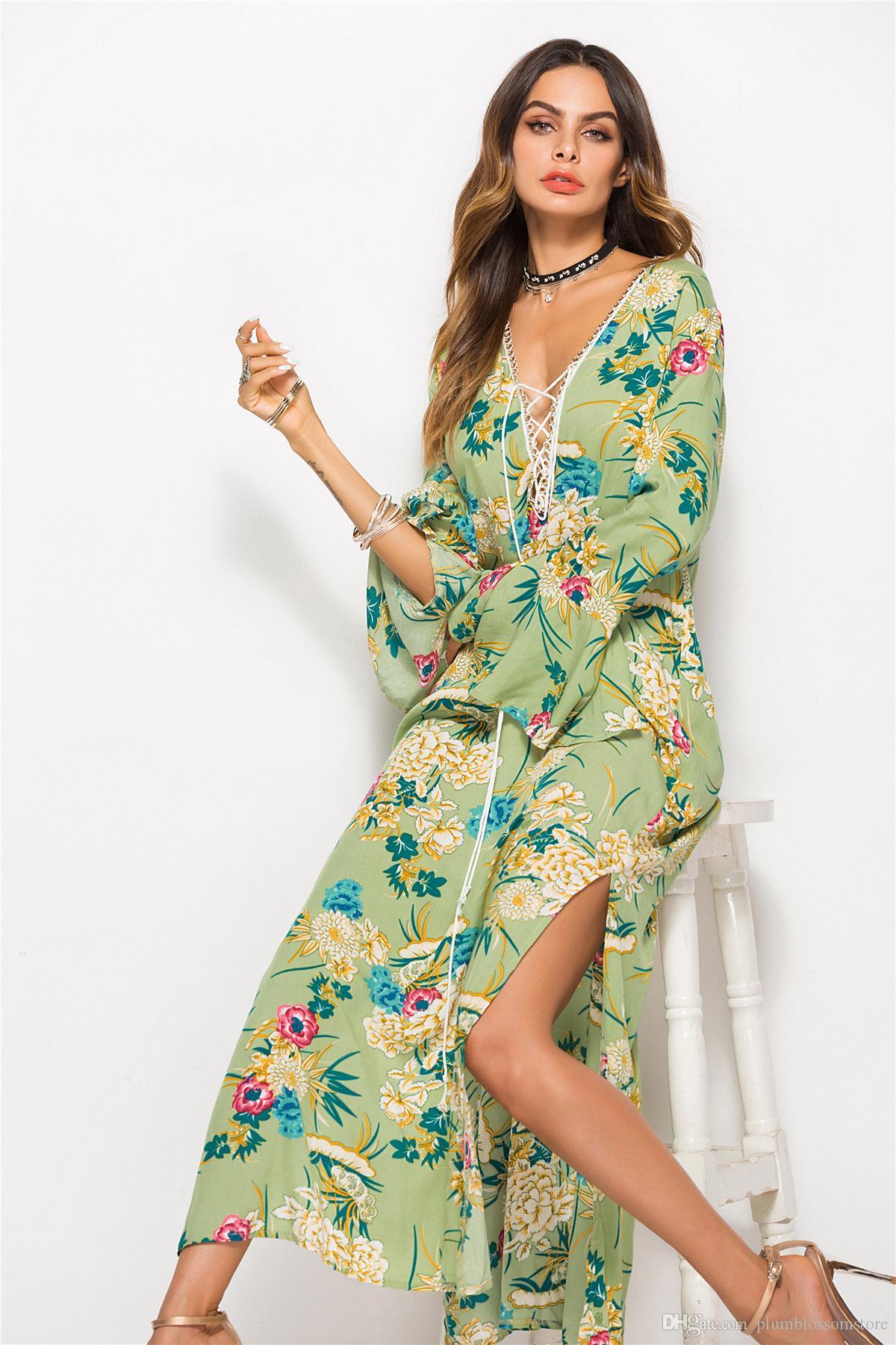 8c6c77f78d9 Großhandel Plus Size Mode Drucken Böhmische Lange Maxi Kleider Frauen Boho  Kleid 2019 Neue Sommerurlaub Lässig V Ausschnitt Sommerkleid Strand Sarongs  Split ...