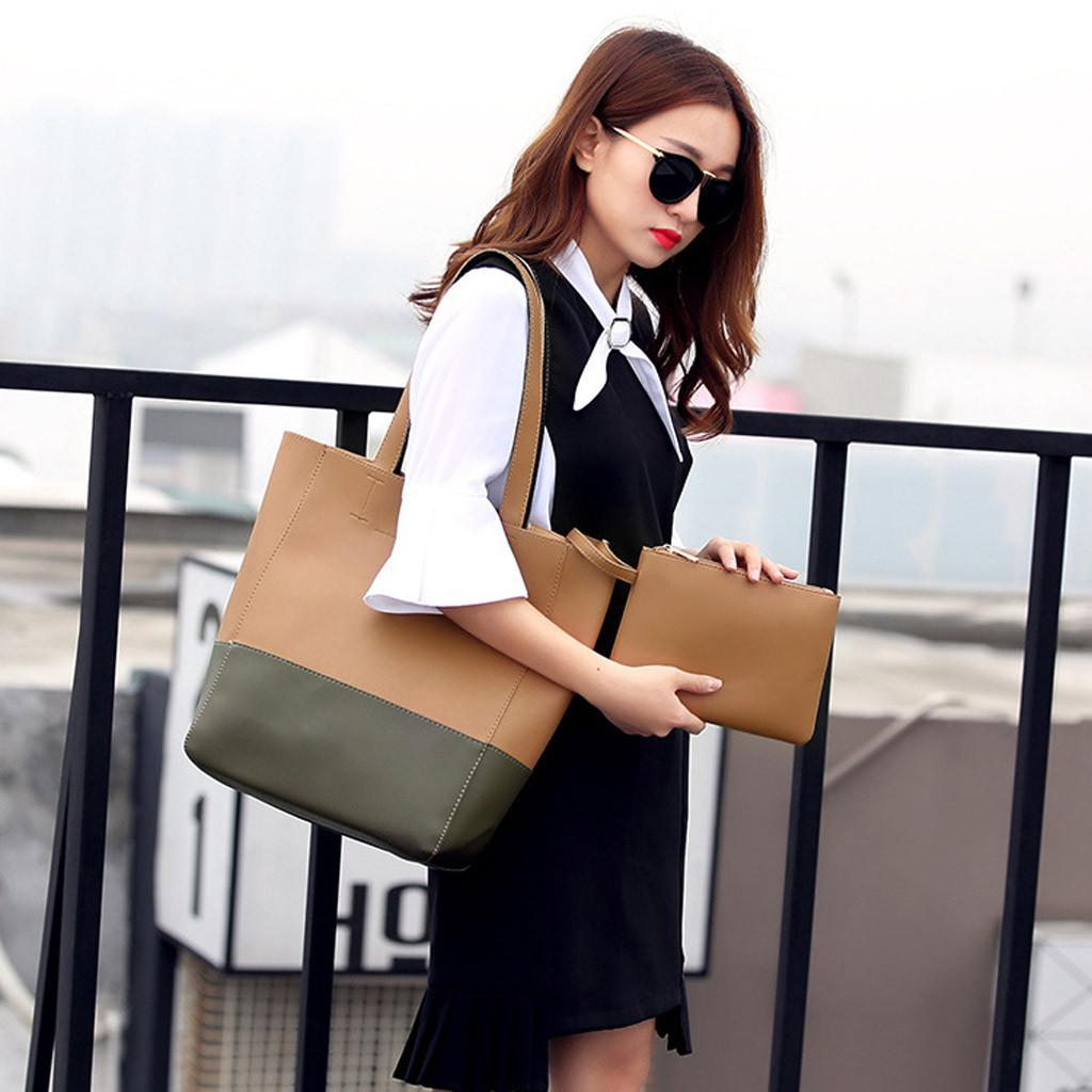 Fashion lady color matching wild large capacity handbag multi-function casual shoulder bag portable clutch bag#G4