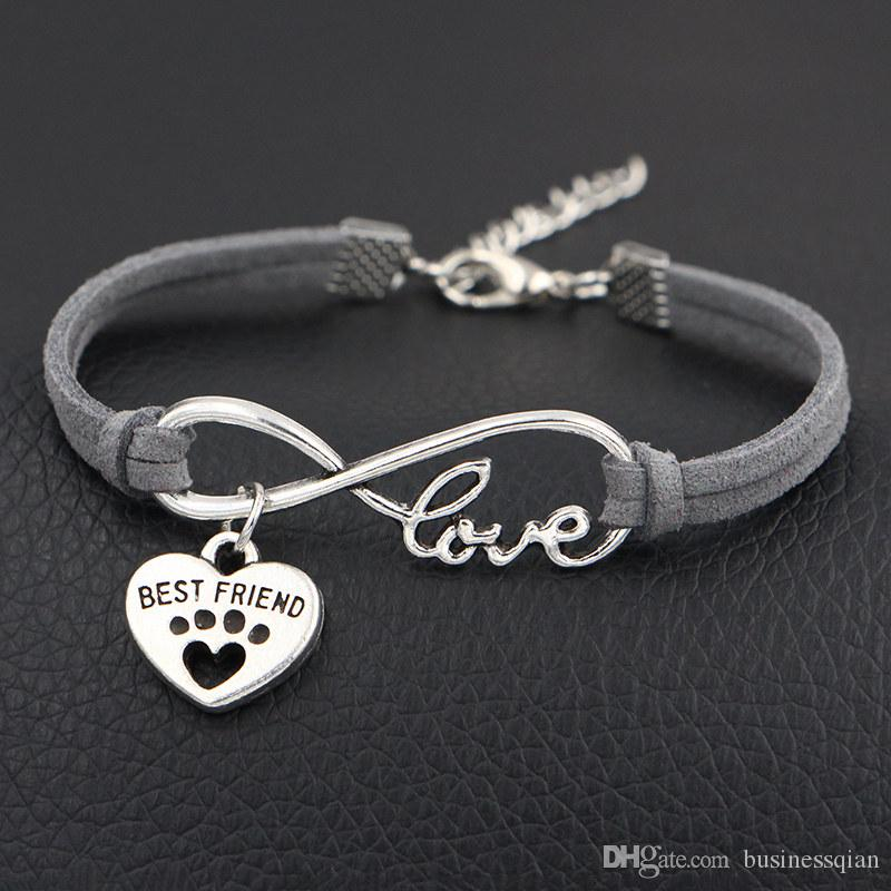 2e83c55fc5 New 2019 Designer Vintage Infinity Love Dog Paw Prints & Best Friends Heart Charm  Bracelets Bangles Gray Leather Suede Jewelry For Women Men Vintage Charm ...