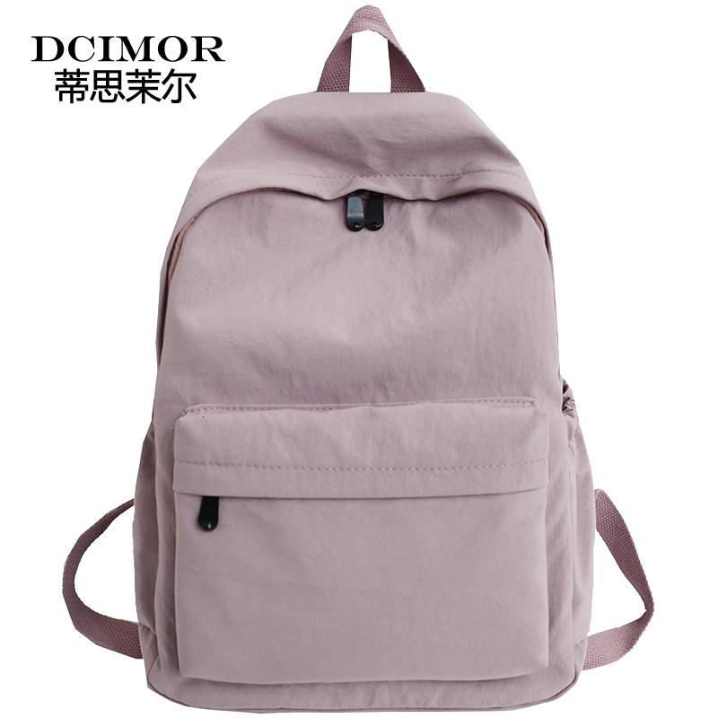 DCIMOR Nylon waterproof women backpack High quality solid color shoulder bag schoolbag for Teenage girls 2019 Travel backpack V191121