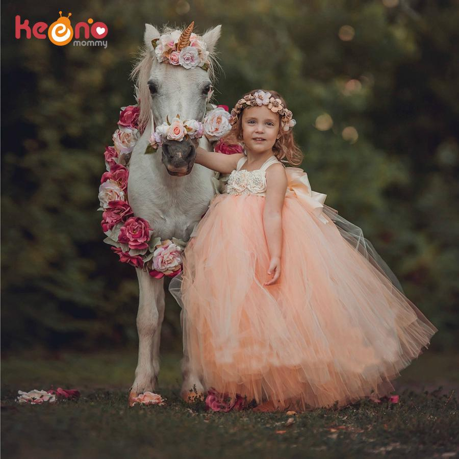 Handmade Fairy Peach Flower Girls Wedding Tutu Dress Princess Kids Ball Gown Dress For Girls Pageant Party Clothes Tulle DressMX190822