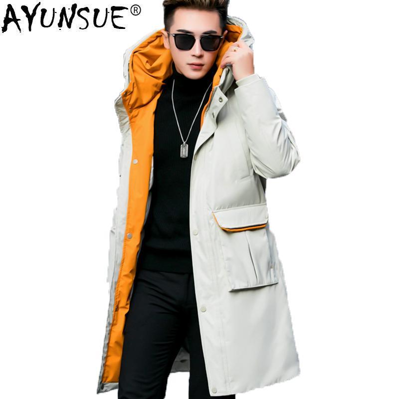 3e6e7f296 AYUNSUE Men s Down Jacket Fashion Korean Winter Coat Men Long 90% White  Duck Down Jacket Men Parka Doudoune Homme KJ1535