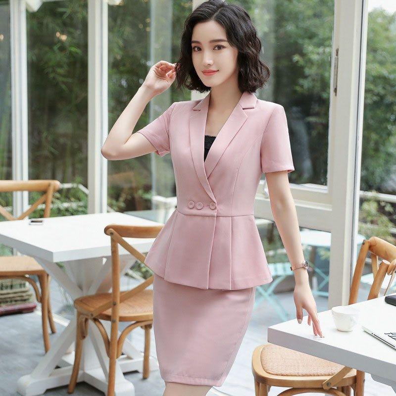 7d629c6deec1 Plus Size Elegant Summer Women Blazers Short 2 Pieces Set Mini Skirt + Suit  Set Ladies Office Work Sets. Store-wide Discount
