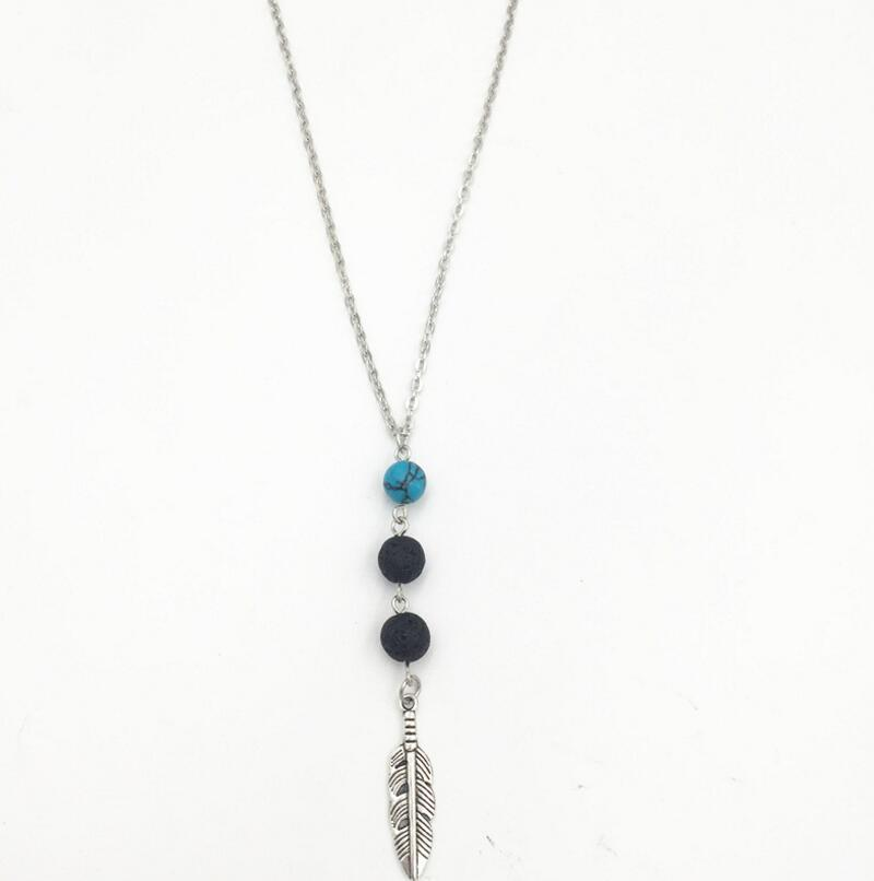 573b15e46135 Lava-rock Bead Turquoise Feather Collares pendientes Aromaterapia Aceite  esencial Difusor Collares Natural Negro Lava Yoga Joyería K3442