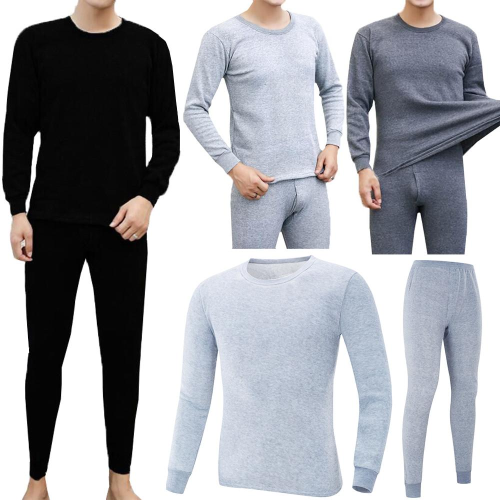 7d50c608bf58 M-2XL Men s Winter Thermal Underwear Suit Circular Collar Pure Color ...