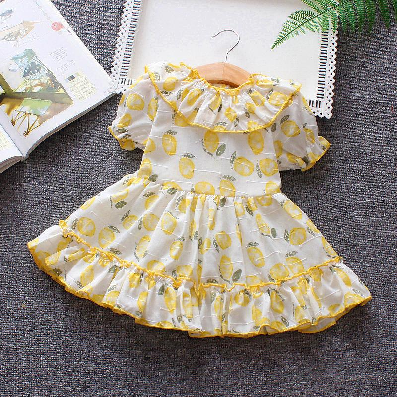 edd27a0d8e702 2019 summer baby girls dress kids girls fruit printing puff sleeve lace  dress toddler infant beach party birthday frock clothing