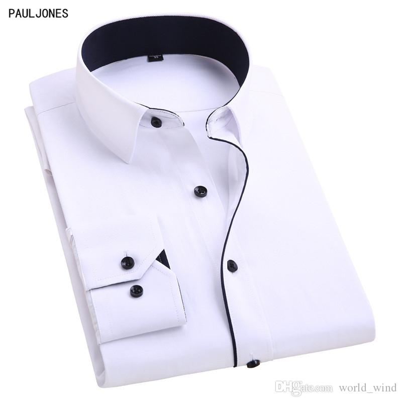 49c117ad3b4 2019 PAULJONES Long Sleeve Slim Fit Men'S Casual Business Shirts Non Iron  Patchwork Men Social Shirts White China Imported Clothing #389204 From  World_wind, ...