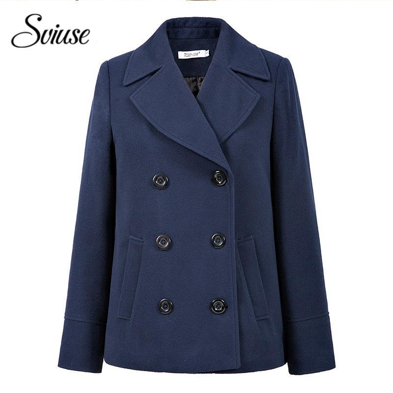 f293ca3a667f 2019 Classic Navy Blue Wool Coat Jackets Women Autumn Winter Double ...