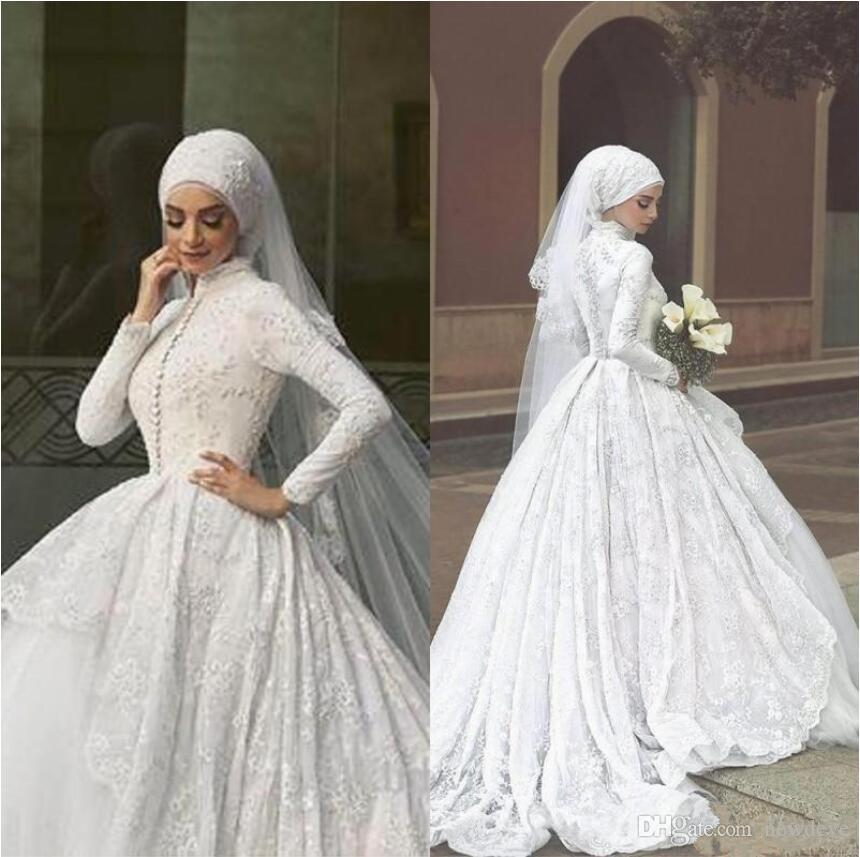 928caa18c9 Discount Arabic Islamic Muslim Wedding Dresses Said Mhamad Lace A Line  Bridal Gowns 2019 Long Sleeves High Neck Midwest Pakistani Abaya Wedding  Dress ...