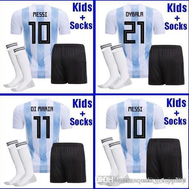 newest 2b40f 75c9f Argentina KIDS football Jersey 2018 Argentina boys youth kits DYBALA Messi  kun Aguero Di Maria Child football shirt uniform with socks