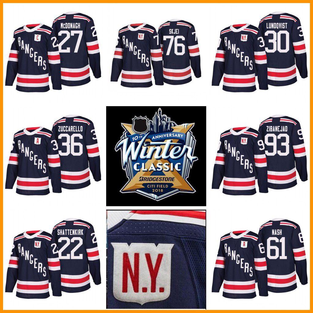 huge selection of fa829 5aadf 2018 Winter Classic New York Rangers Jerseys Hockey 36 Mats Zuccarello 27  Ryan McDonagh 30 Henrik Lundqvist Kevin Shattenkirk Brady Skjei