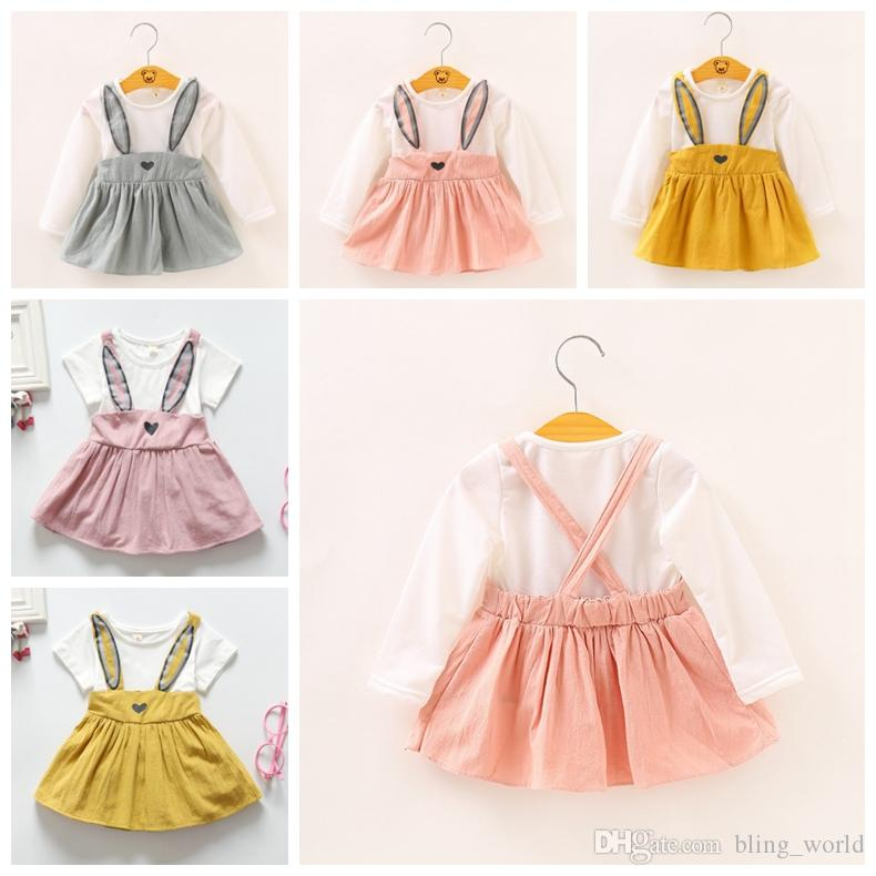 6fccf56c8 2019 Baby Girls Clothes Rabbit Designs Baby Dresses Long Sleeve Girl ...