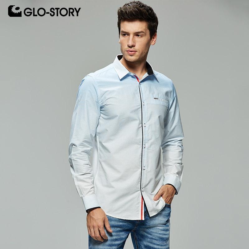 e251b6a38 GLO-STORY Tamaño europeo Hombres Moda Impresión Fitness Camisas de vestir  formales Hombres 2019 Camisa de manga larga Blusa Tops MCS-7912