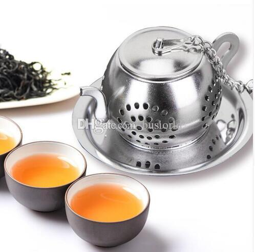 Stainless Steel Tea Infuser Teapot Tray Tea Strainer Teaware Accessories Kitchen Tools tea infuser Teapot Shape