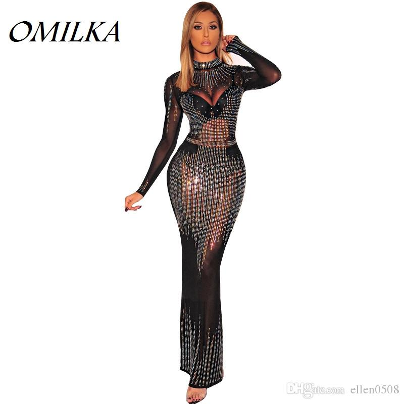 939424d877b OMILKA Hollow Out Mesh Diamonds Party Dress 2019 Autumn Women Long Sleeve  Stand Neck See Trough Sexy Club Long Maxi Dress Party Dresses Ladies Dress  For ...
