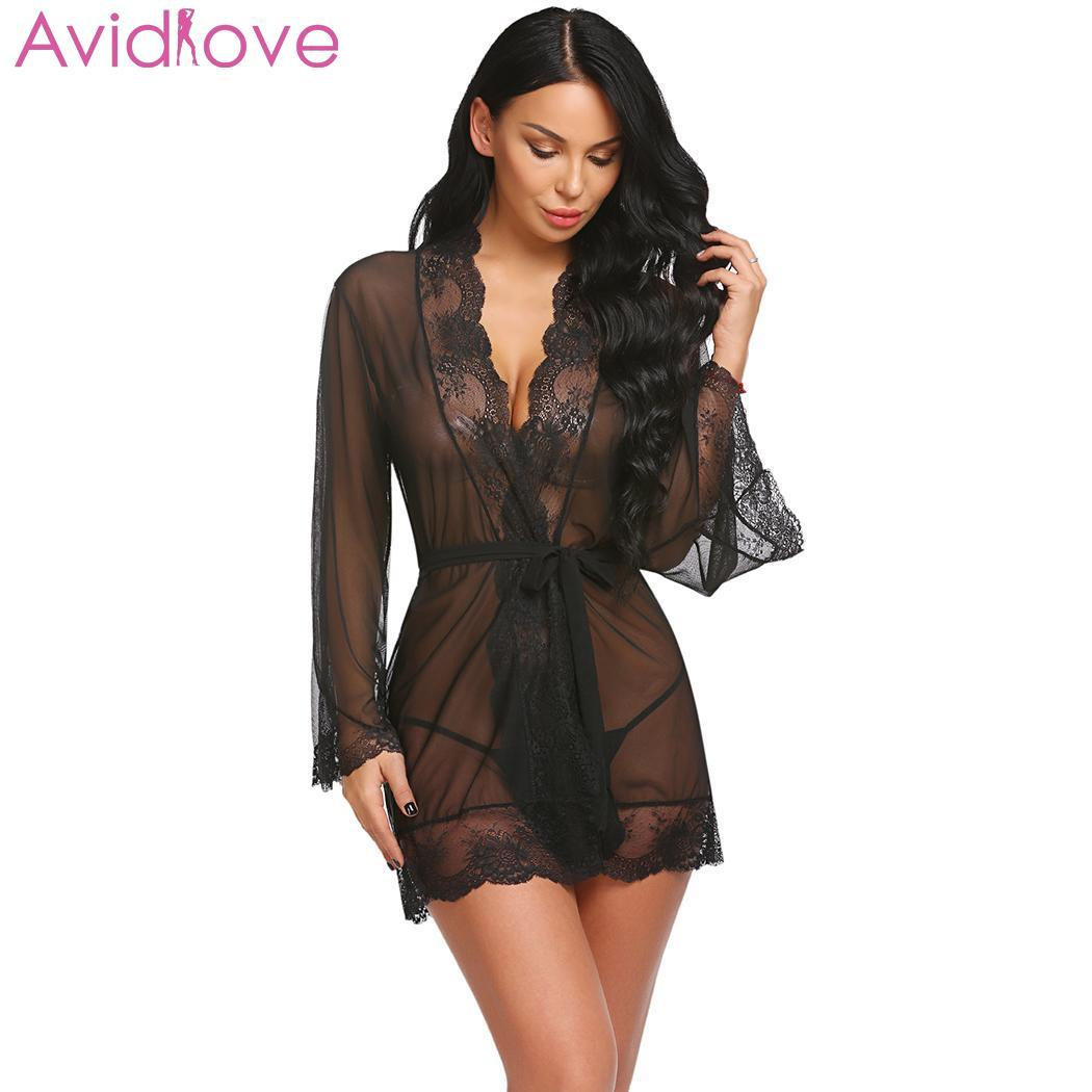 Avidlove Babydoll Sleepwear Women Sexy Lingerie Long Sleeve Lace Patchwork Robe Belt Through Lingerie Night Summer Gown