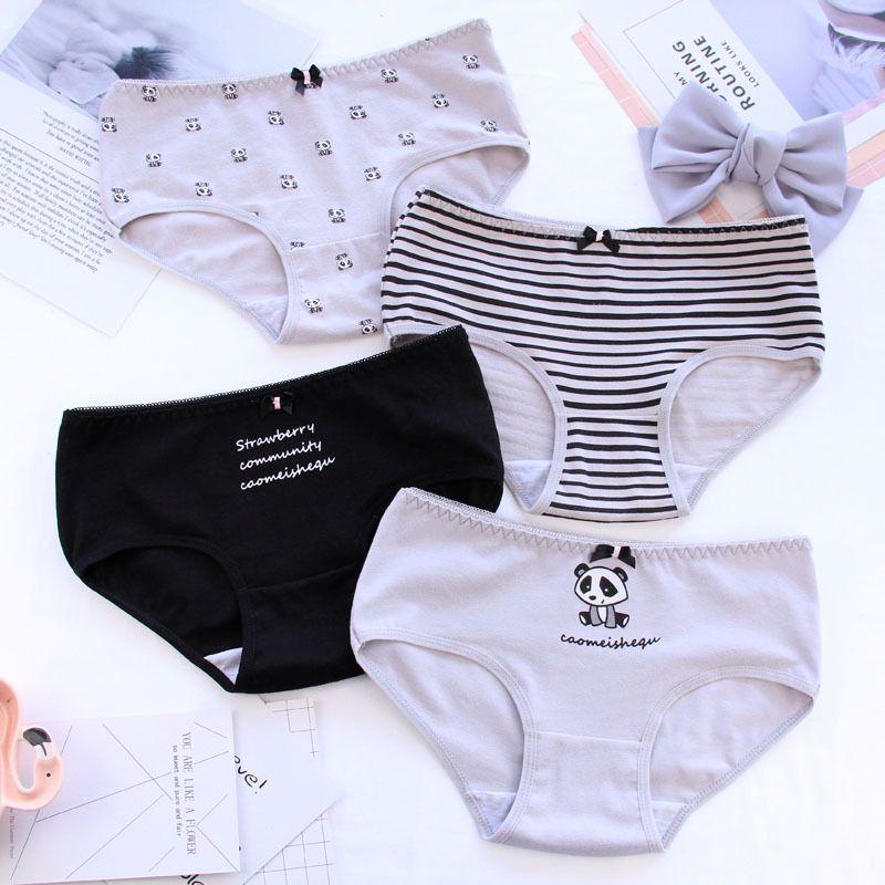 4dff0d583f1 Women Panda Pattern Cotton Panties Underpants Lingerie Girl ...