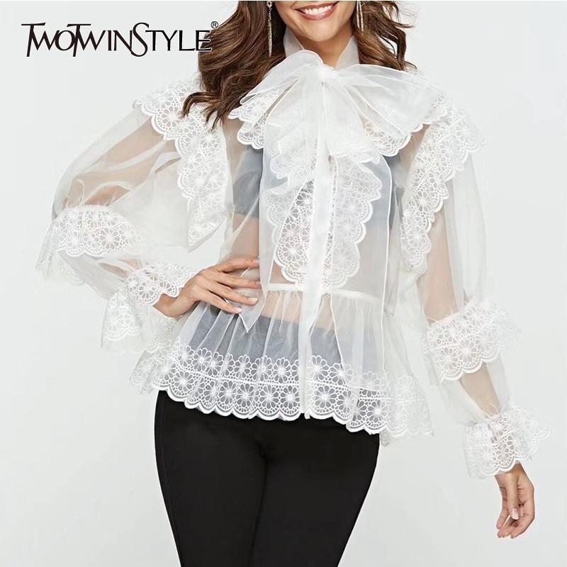 219334070205 Acquista TWOTWINSTYLE Camicie Di Pizzo Patchwork Camicetta Donna Bowknot  Lace Up Puff Sleeve Prospettiva Top Donna Elegante Moda 2019 Primavera A  $48.1 Dal ...