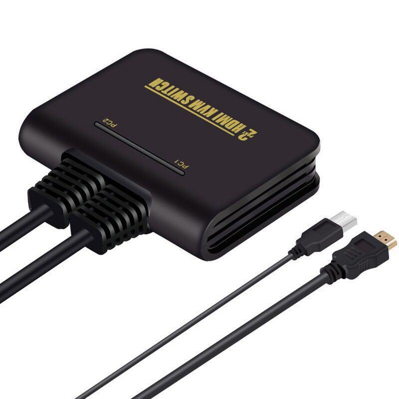 2 In 1 Dual Port HD KVM Switch HDMI Switch Support Automatic KVM USB Mouse  & Keyboard Switching