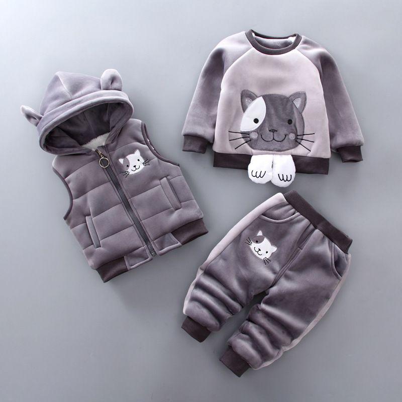 2b4c89788652 Autumn Baby Boys Winter Clothing Set Infant Cotton Hooded Vest+top+ ...