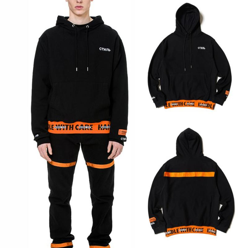 e3afb082 2019 HERON PRESTON New HANDLE WITH CARE Letter Embroidery Hoodies Belt  Drawstring O Neck Cotton Men Loose Hoodie Back Orange Strip From Houmian,  ...