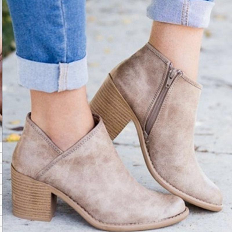 código promocional c9507 570b7 WENYUJH 2019 Chic Spring Women Shoes Retro Botines de tacón alto Bloque  femenino Botas de tacón medio Botas mujer Botas de mujer de talla grande