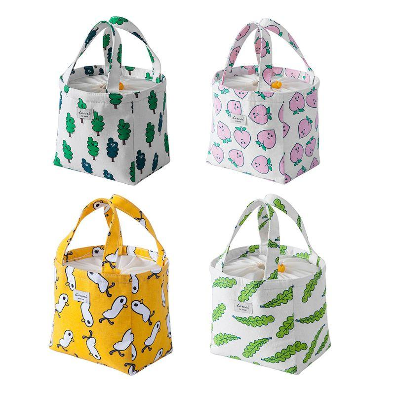 acdce6f15e10 4 Colors Portable Thermal Insulated Cooler Bag Cartoon Drawstring Lunch  Picnic Carry Tote Storage Case Box Fresh Pouch
