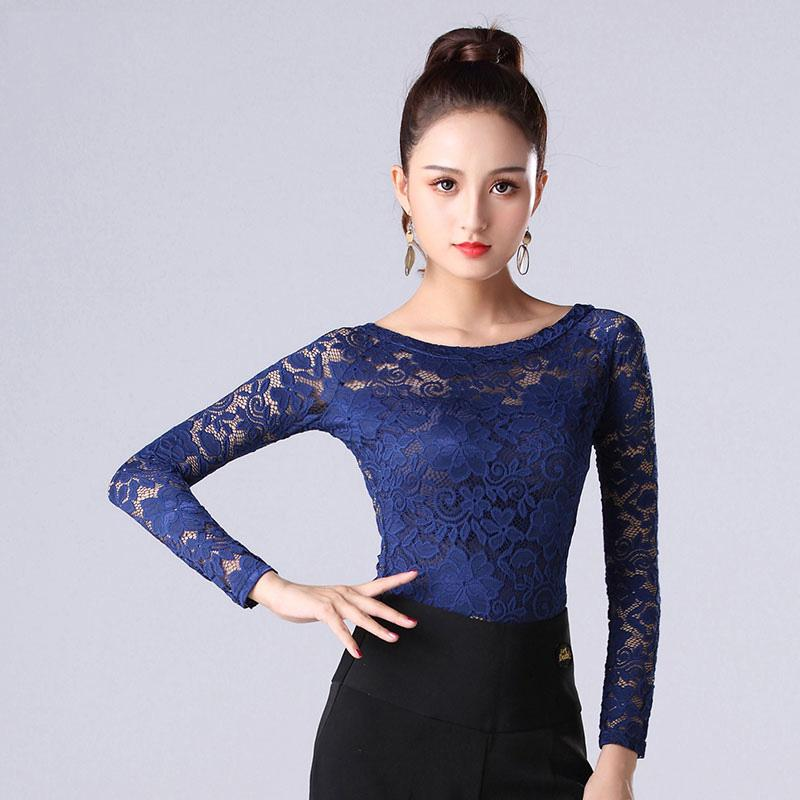 ab13aec0f01905 Latin Dance Top For Women Long Sleeve Lace Shirts Ladies Cha Cha ...
