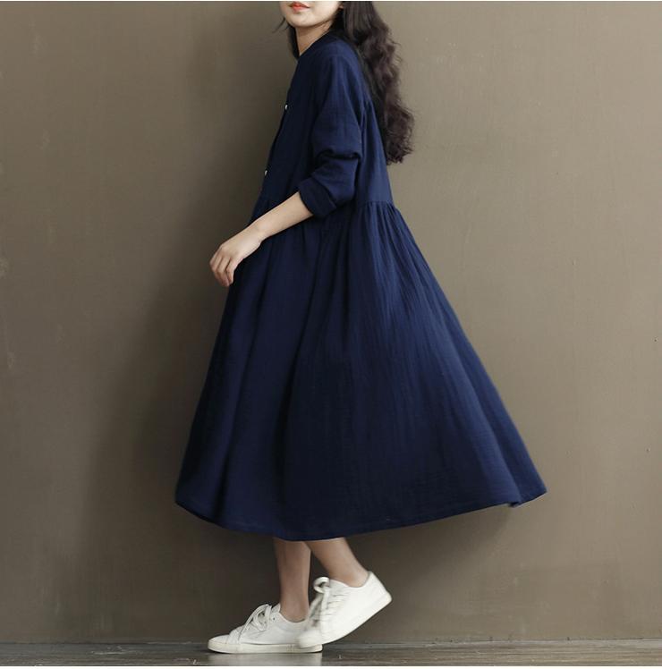 Autumn Winter Dress Loose High Waist White Blue Dress Women Cotton Linen V Neck Long Sleeve Maxi Dresses
