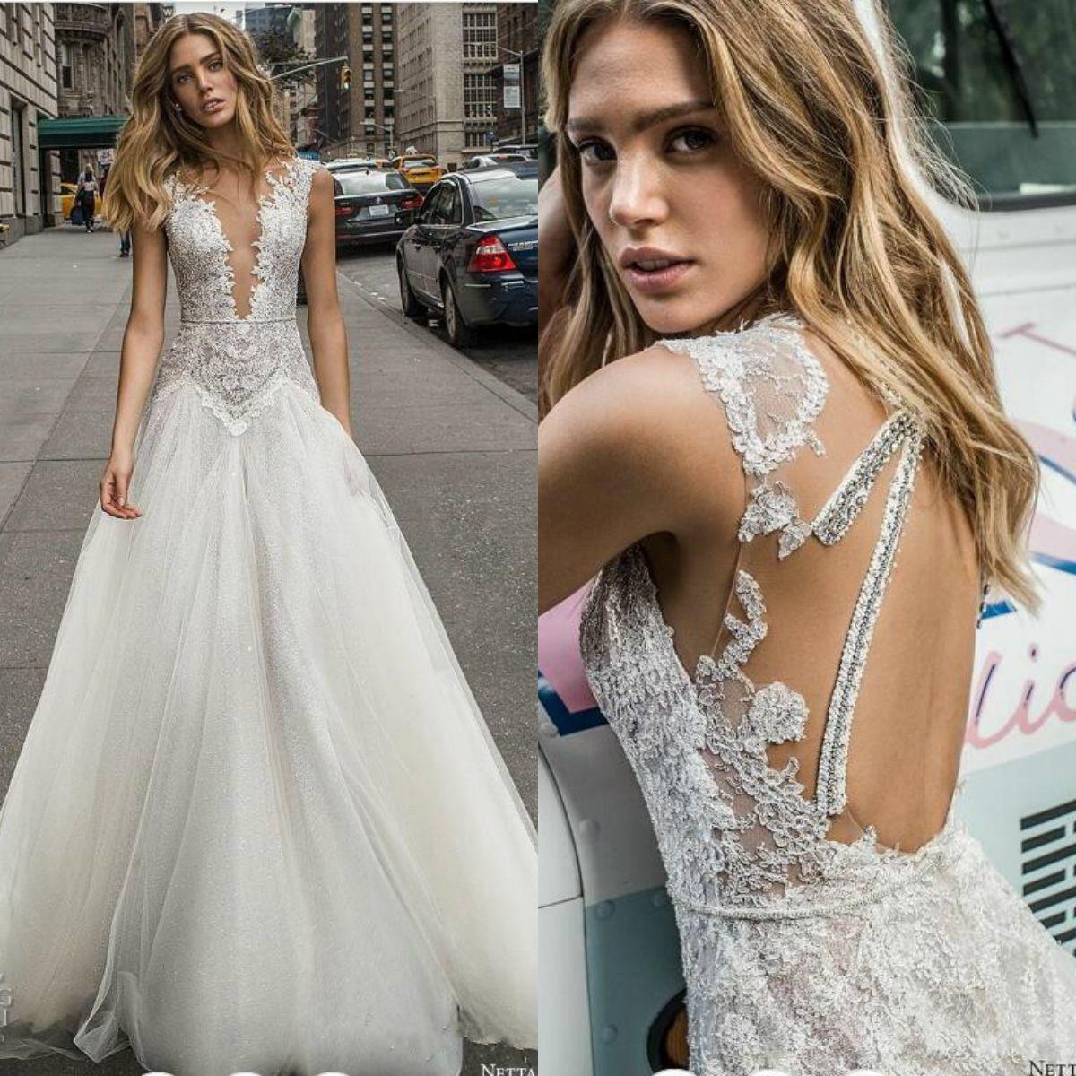 Bohemian 2019 Lace Wedding Dresses Deep V Neck Glitter Beads Appliqued Beach Wedding Dress Bridal Gowns Vestido De Novia