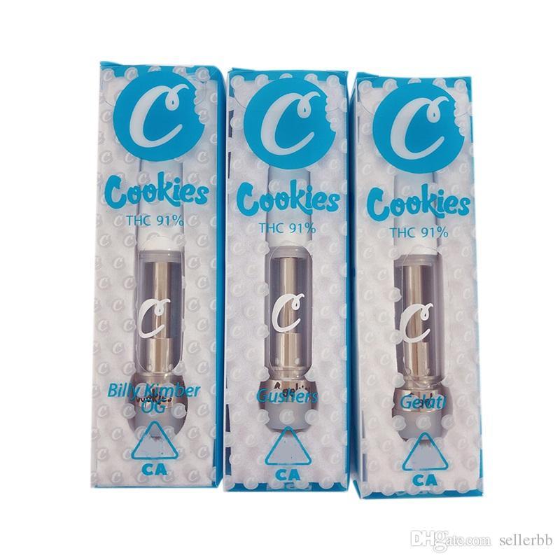 Cookies Carts Empty Vape Cartridges 510 Thread Vape Pen Ceramic Coil Glass  Tank Vape Cartridge Packaging 15 Flavors