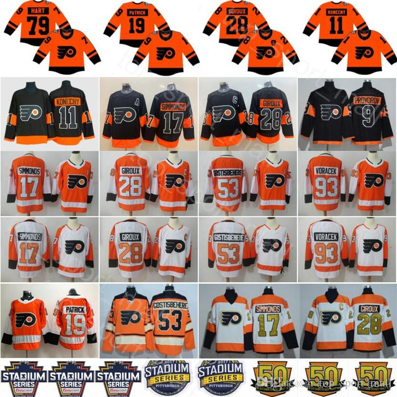 2019 2019 Stadium Series Philadelphia Flyers 79 Carter Hart Jersey Nolan  Patrick Ivan Provorov Travis Konecny Claude Giroux Hockey Men Kids Women  From ... 35a82929b