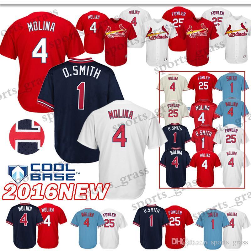 new product f7538 cb18e St. Louis Cardinals Baseball Jerseys 4 Yadier Molina 25 Dexter Fowler  Baseball Jersey Adult shirt Top quality 100% Stitched